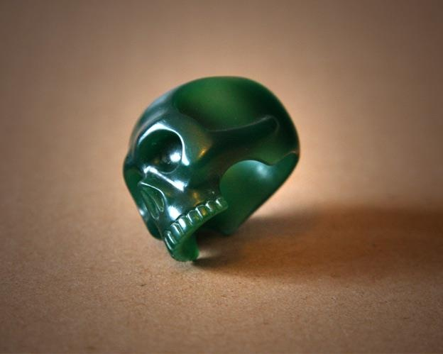 Skull ring wip carved from wax soon to be reproduced in