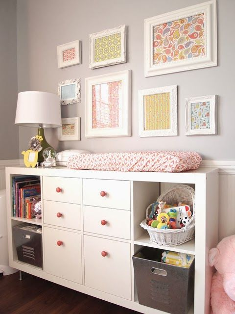 Expedit Shelf and drawer inserts. Change knobs to customize and give a higher end look