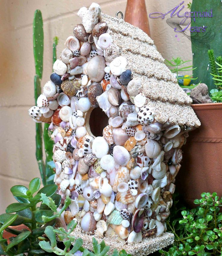 Hawaiian Seashell Birdhouse  outdoor garden by MermaidTearsDesigns, $60.00