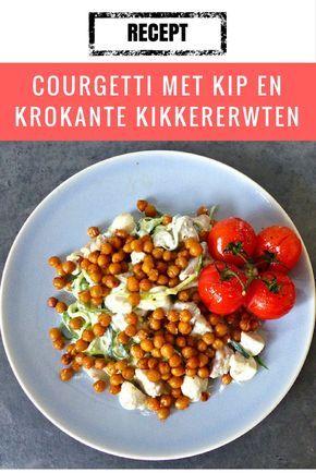 Recept | Courgetti met kip en krokante kikkererwten