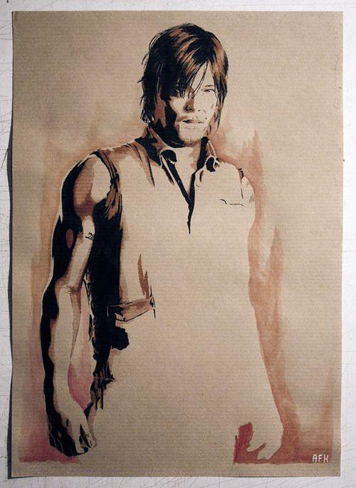 Daryl Dixon - The Walking Dead - Norman Reedus (@Big Bald Head)  Papier kraft. Colorex + Marqueurs + Aquarelle.