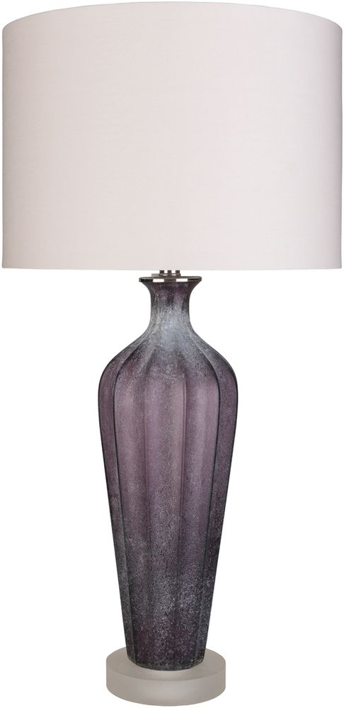 Surya's Sloane table lamp has a sandblasted glass body in dusty, purple shades - ideal for modern and transitional interiors. (SLA-101)