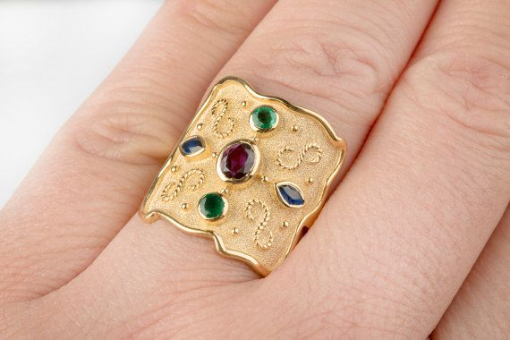 15%off BYZANTINE Wide Ring Ruby Emerald & Sapphire Multi