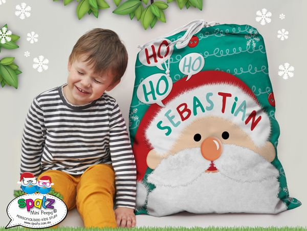 SPATZIFY your silly season with our awesome with our Santa Claus Full Print Drawstring Personalised Kids Christmas Santa Sacks. Featuring your Childs name and the option of a special message. Measuring a huge 65cm x 75cm | Decorative Drawstring Closure | Full Print Front & Back = AWESOME!