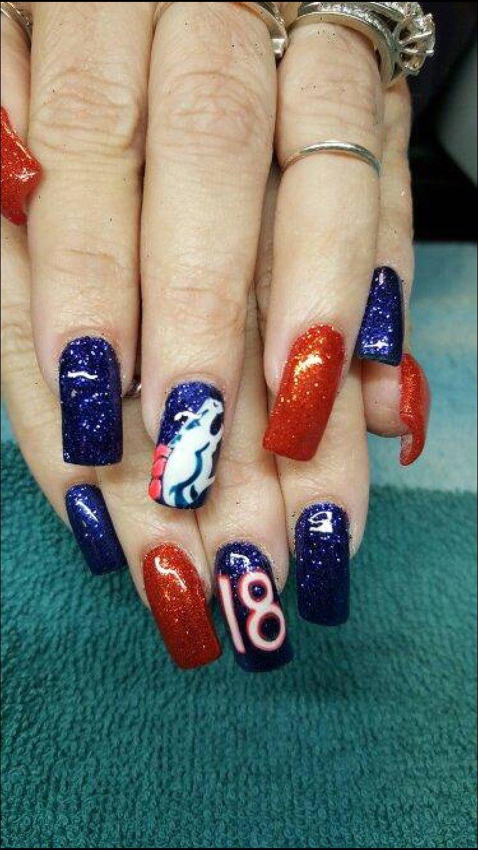 55 best bronco nails images on Pinterest   Denver broncos nails ...
