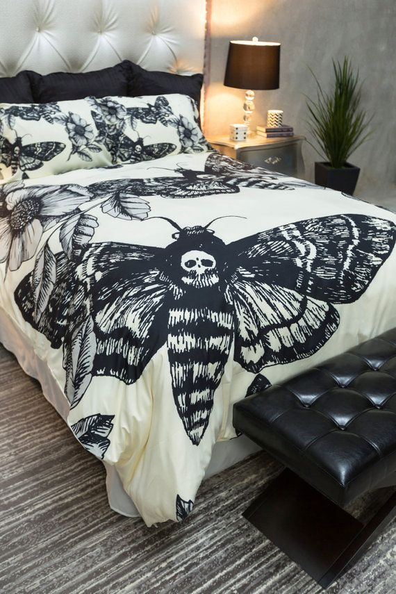 Featherweight Moth Skull Bedding -  Black Skull Death Moth Print  on Cream - Comforter Cover - Skull Duvet Cover, Skull Bedding Set
