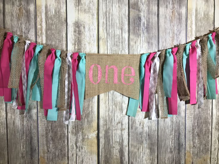 First Birthday Banner Girl, High Chair banner Girl, Pink Mint Birthday banner, Burlap Birthday Banner by MagdalenaDesignShop on Etsy