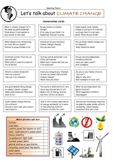 Let's Talk about CLIMATE CHANGE worksheet - iSLCollective.com - Free ESL worksheets