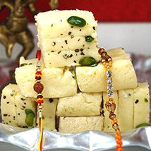 Rakhi pair with Khoya Burfi