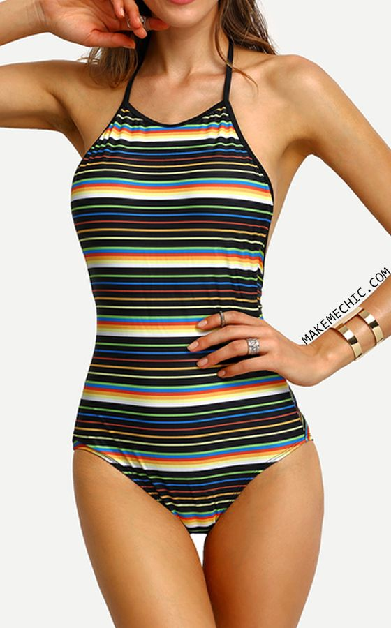 Colorful Stripe Halter Backless One-Piece Swimwear