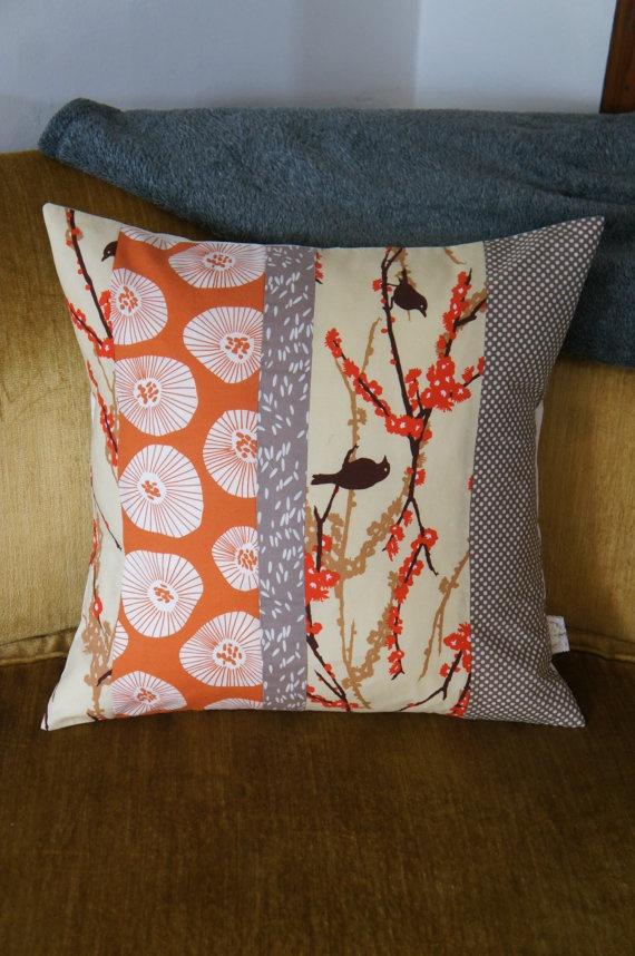 contemporary quilt pillow case 20x20 orange birds by HAWThome, $32.00
