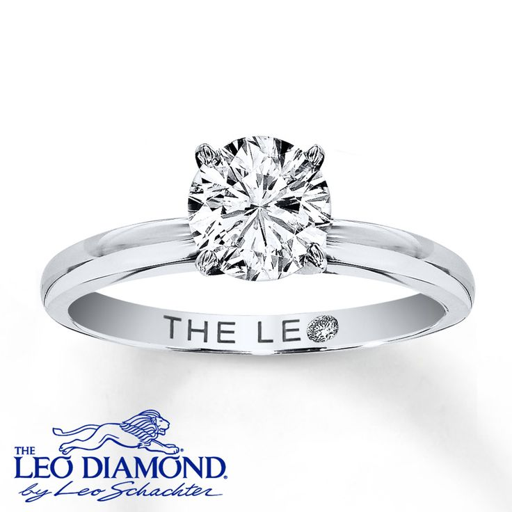 A captivating 1 carat round Leo Diamond is set in a band crafted of 14K white gold in this beautiful diamond solitaire ring for her. The diamond is independently certified and laser-inscribed with a unique Gemscribe® serial number. Diamond Total Carat Weight may range from .95 - 1.11 carats.