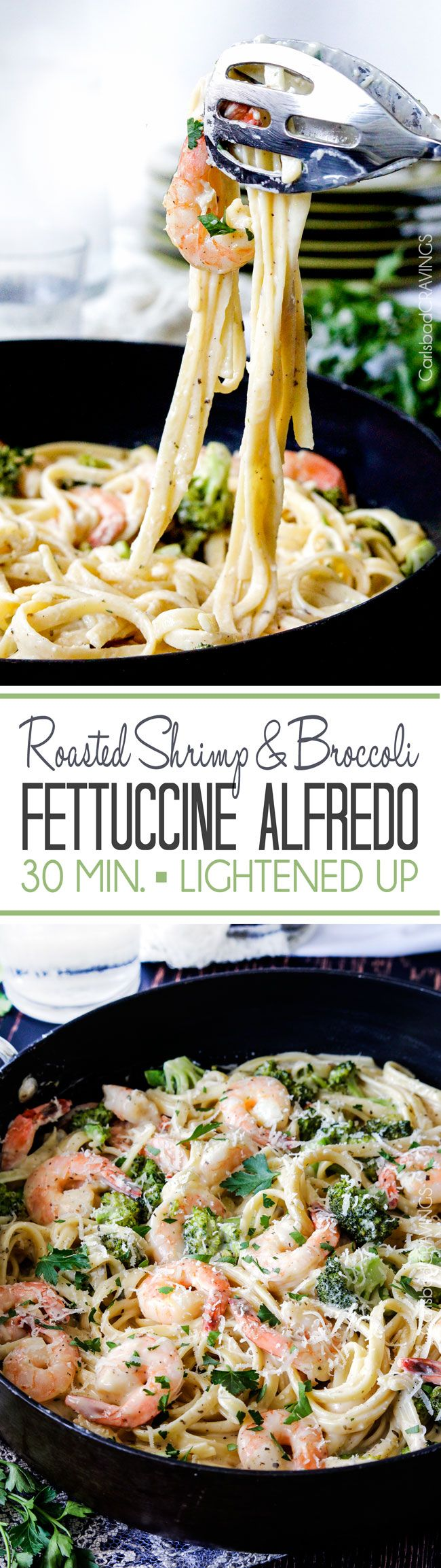 LIGHTENED up 30 Minute Roasted Shrimp and Broccoli in a velvety, creamy Garlic Parmesan Mozzarella Alfredo Sauce without the guilt.
