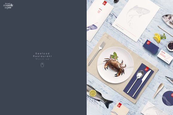 Fish & Seafood Restaurant Mock-up by dennysmockups on @creativemarket