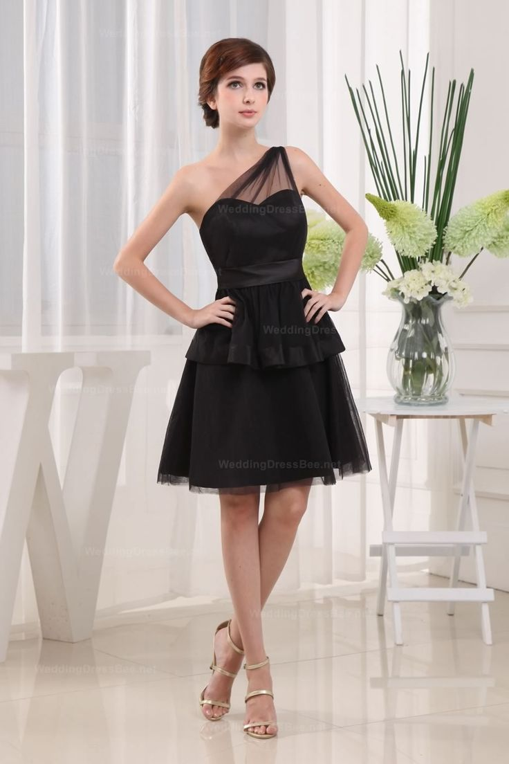 One Shoulder A-Line Knee-Length Bridesmaid Dress