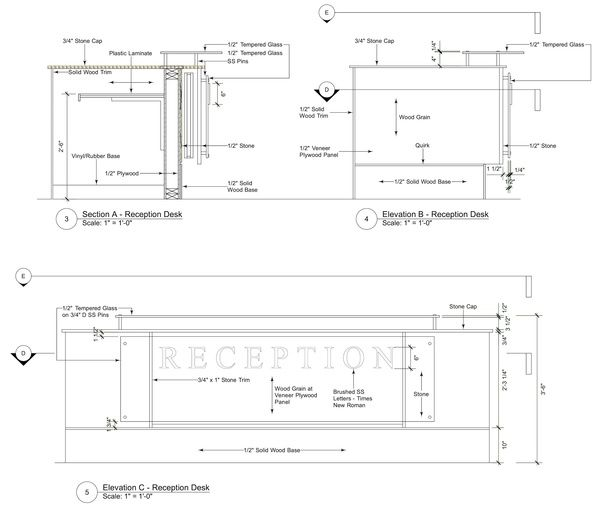 Image result for reception desk section detail drawing interior detailing 2016 pinterest for Construction drawings and details for interiors