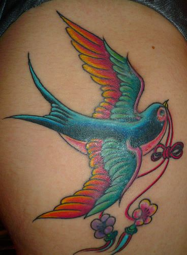 Colorful Bird Tattoos Shoulder Colorful sparrow tattoo on