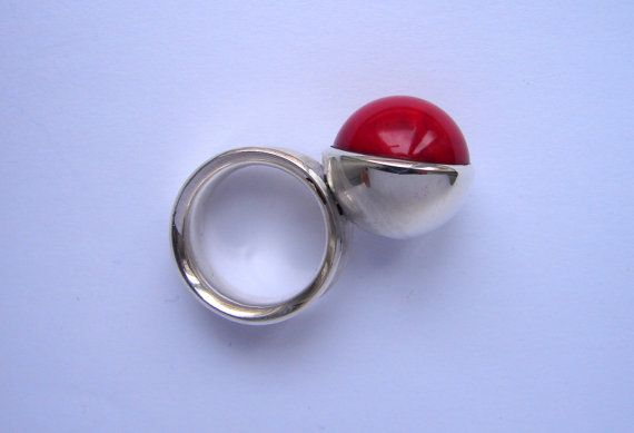 Red Planet, coral and silver ring,  by Orsolya Kecskés