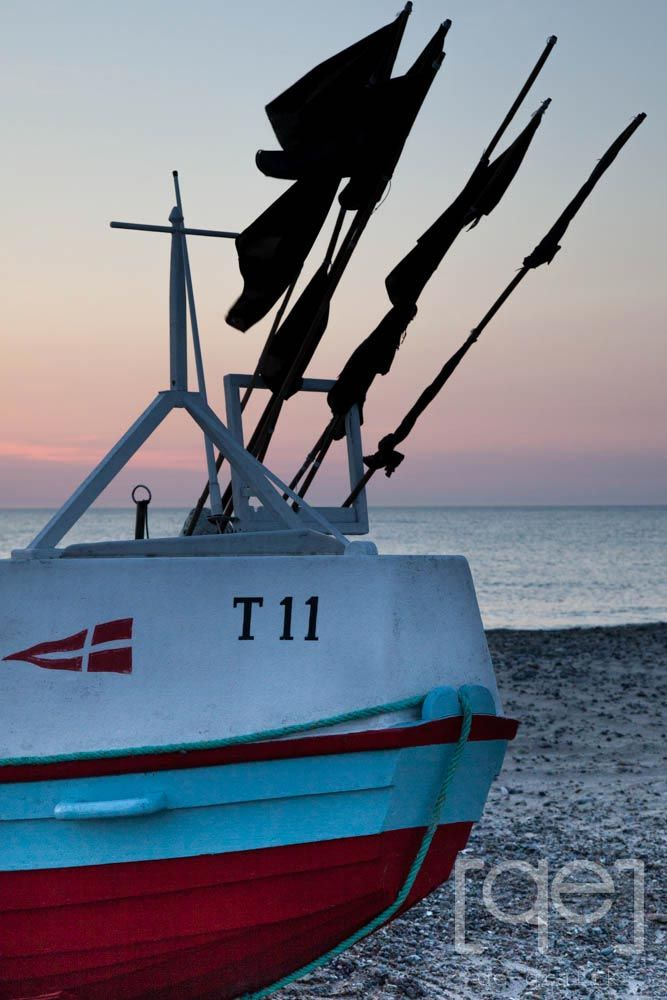 Evening sky, sunset, danish west coast, noerre vorupoer, fishing boat, denmark