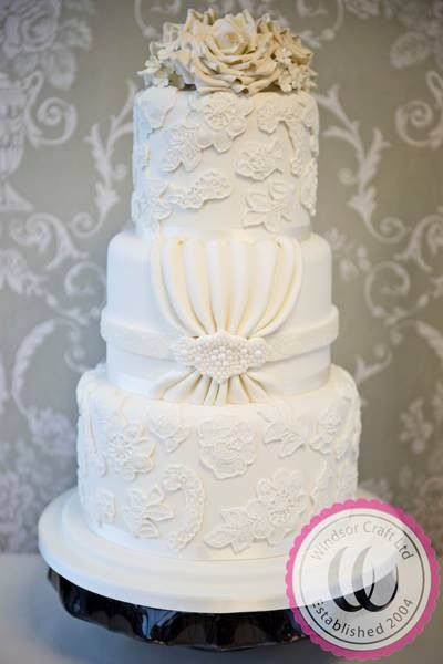 Lace And Pearl Ivory Wedding Cake Based On Brides Dress