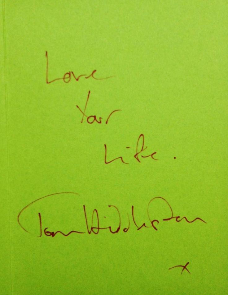 """Love your life"" -Tom Hiddleston.  A lot of love in one small card. Wise words from Tom. #TomHiddleston #love"
