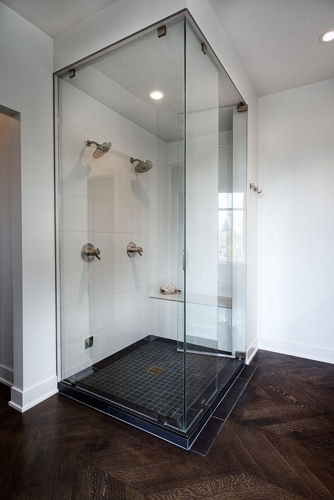 Shower Tile 12x24 Porcelain Tiles For Walls And Ceiling Of The Steam Shower 2x2 Black Mosaic For Shower Base Sh House Design Custom Home Designs Custom Homes