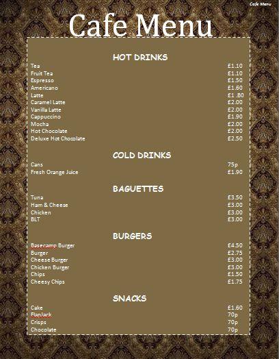 Afbeeldingsresultaat voor cafe menu ideas