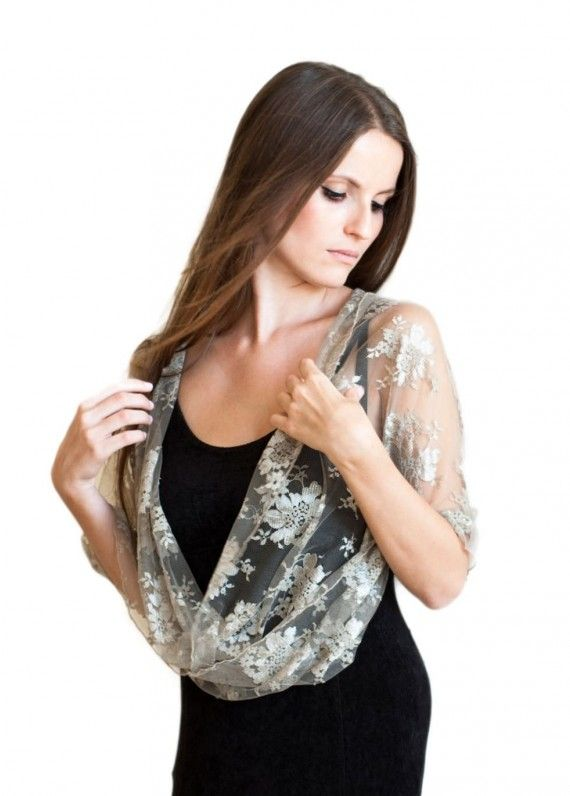 Taupe lace shrug with 4 wearing options