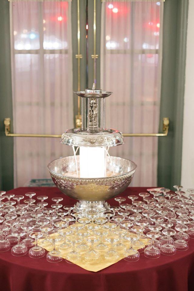 7 Gallon Champagne Fountain. Weinhardt Party Rentals @ Das Bevo in St. Louis, MO.