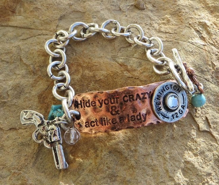 Cowgirl Bling HIDE YOUR CRAZY Pistol Ammo Hammered Copper Charms Gypsy BRACELET  #Unbranded #link