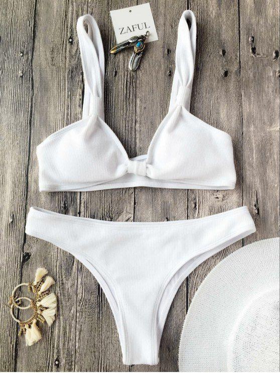 $13.99 Rib Textured Bralette Scoop Bikini Set - WHITE M