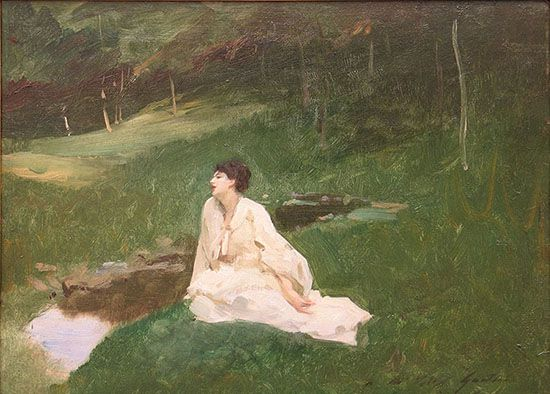 """Judith Gautier,"" also known as ""Resting by the Spring,"" John Singer Sargent, ca. 1883, oil on panel, 12.4 x 16.8"", Aix-les-Bains, Musée Faure."