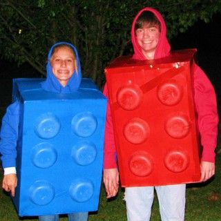 His and Hers Lego Brick Halloween Customes