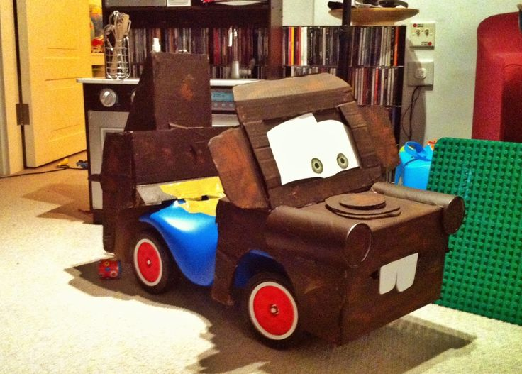 10 Ideas About Cardboard Box Cars On Pinterest: DIY Mater From CARS, Done A Bobbycar. Cardboard, Pringles