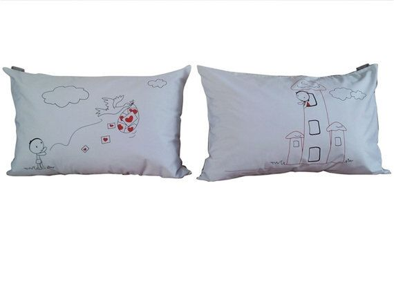 Valentine Couple Pillow Cases Love Letter set  for by UsagiMijo, $29.00