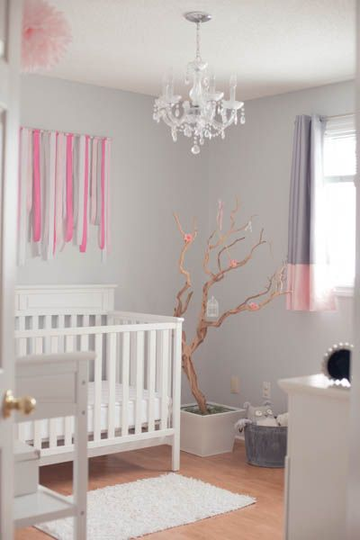 Pink and Gray Nursery - love the fabric wall decor in this room! #nursery #nurserydecor: Manzanita Tree