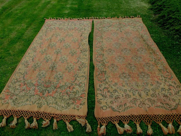 SOLD....Rare Pair c1880s Victorian Tapestry  Portiere Drapes, Curtains