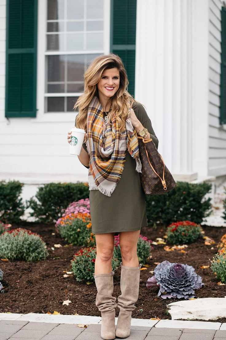 fall outfit ideas, dress and tall boots, green dress with plaid blanket scarf and knee-high suede boots at Equinox resort in manchester, VT