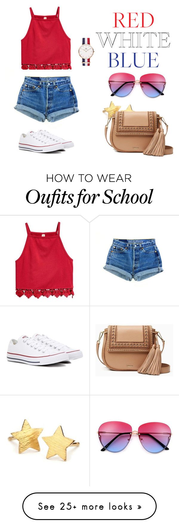 """bomb pop look"" by camarilloamy on Polyvore featuring Converse, Pernille Corydon, Daniel Wellington and Kate Spade"