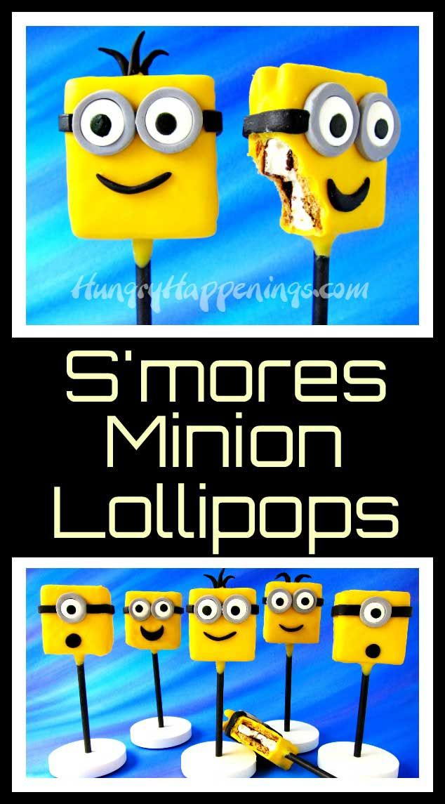 Turn popular summertime treats into adorable S'mores Minion Lollipops. They will be great snacks or party favors for your Despicable Me Minion party.