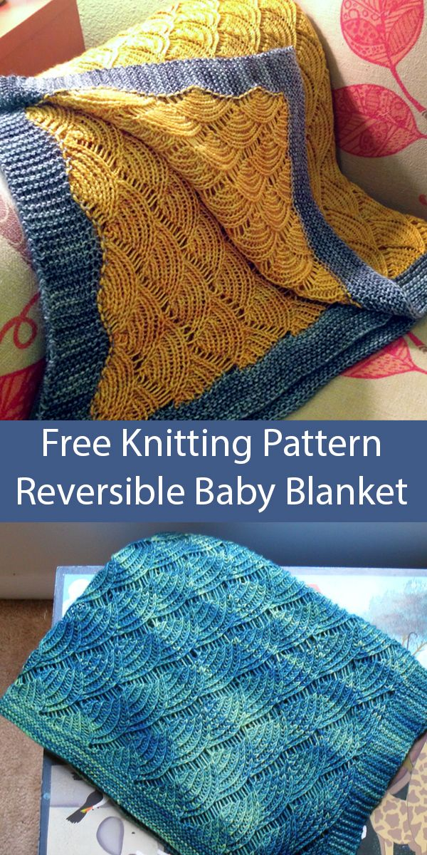 "Free Knitting Pattern for Reversible Baby Blanket ""Smells"