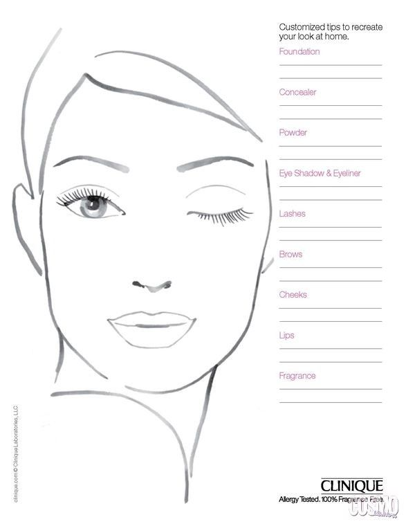 Printable Makeup Face Sketch Templates