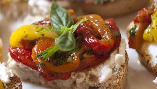 Italian Roast Peppers & Goat's Cheese Canapés - Crostini di Peperoni