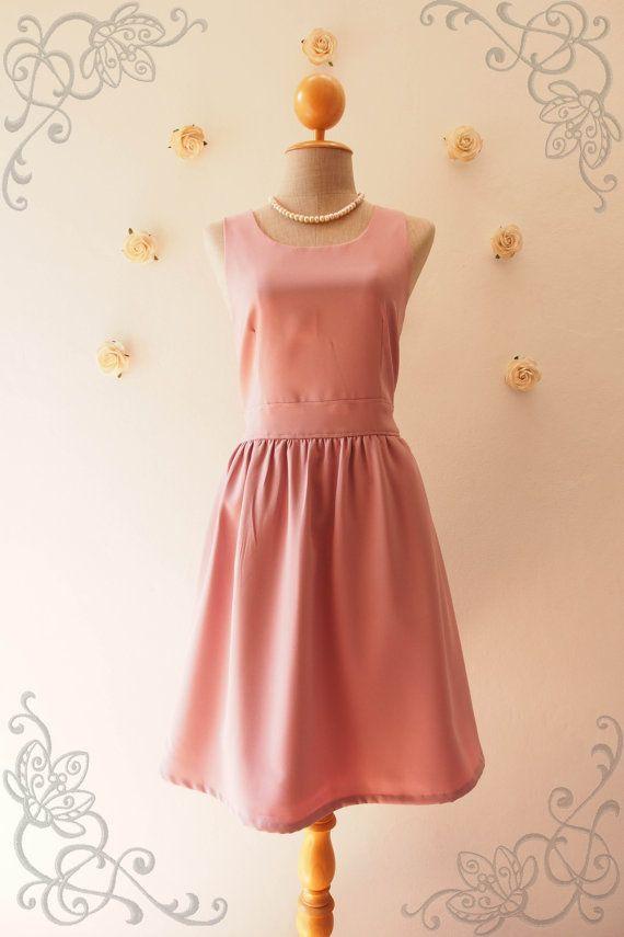 Dusky Pink Bridesmaid Dress Back Bow Tea Dress Summer by Amordress