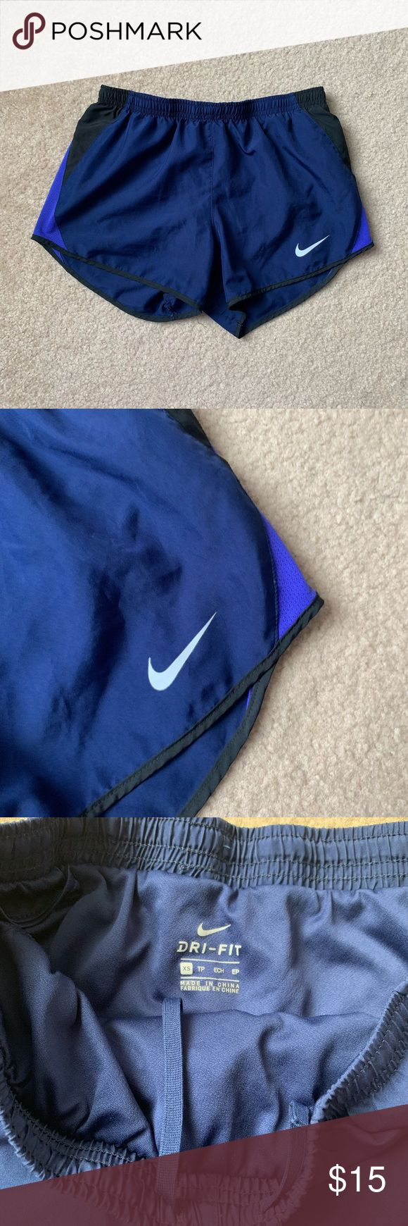 Blue and Black Basic Nike Running Shorts size- XS  follow us on instagram @shopmonowi for updates     tags- cute, aesthetic, vintage, thrifted, y2k, b...