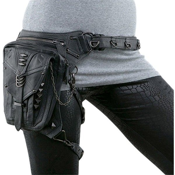 SkyleCoel Black Leather Punk Leg Thigh Hip Holster Wallet Purse Pouch... ($34) ❤ liked on Polyvore featuring bags, messenger bags, waist fanny pack, belt pouch bag, mini messenger bag, leather belt bag and courier bags