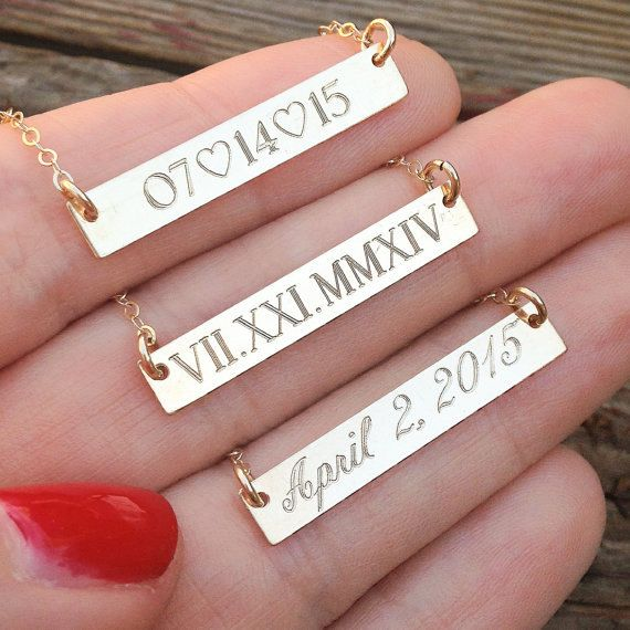 absolutely LOVE this idea for your wedding, anniversary, bridesmaids, etc... engraved bar necklace