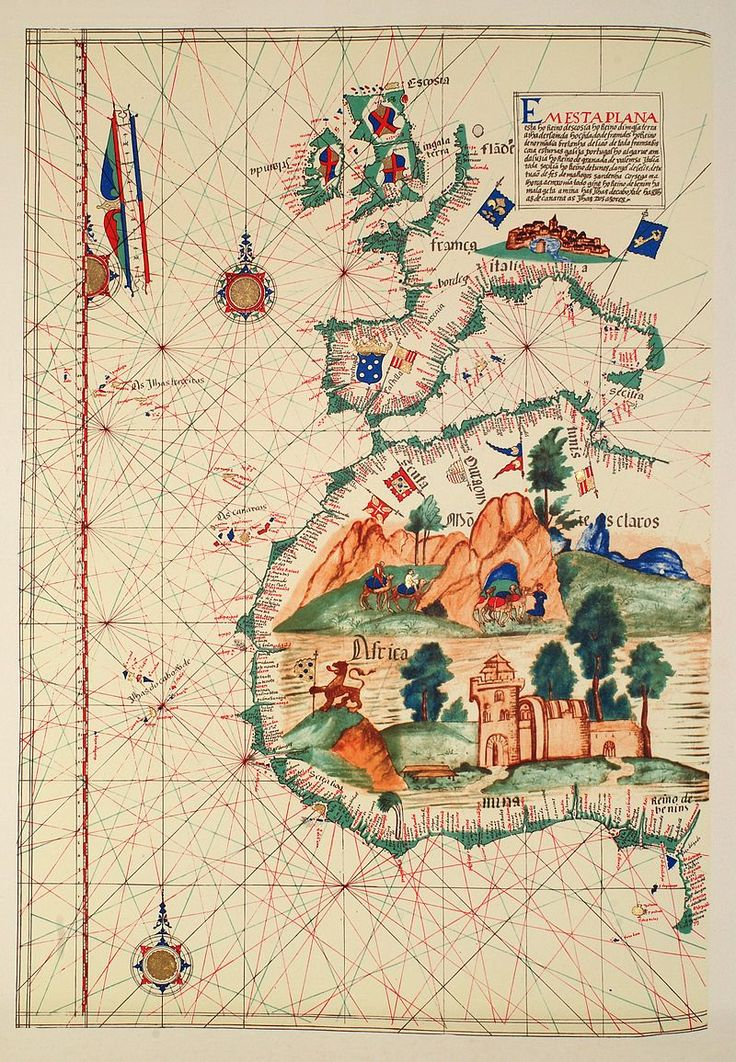 Pau Map%0A Portuguese map of the Western Mediterranean and Western Africa  In Africa  one can see a depiction of the Elmina castle  the oldest European building  in