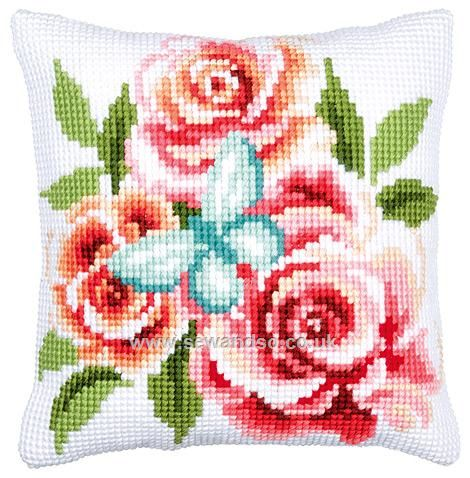 Buy Butterfly and Roses Cushion Front Chunky Cross Stitch Kit online at sewandso.co.uk