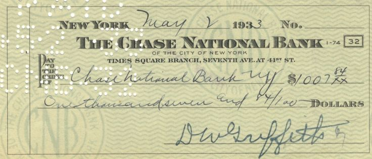 GRIFFITH D. W.: (1875-1948) American Film Director, Academy Award winner. D.S., D W Griffith, being a signed cheque, New York, 2nd May 1933. The partially printed cheque, completed in another hand, is drawn on The Chase National Bank and made payable to the bank for the sum of $1007.84.